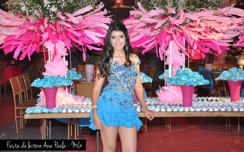 Festa baile de máscaras azul e rosa